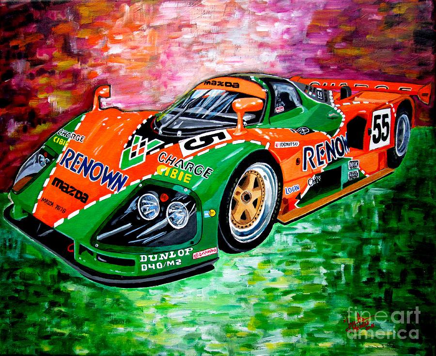 Mazda 787b Painting - Mazda 787b.1991 Le Mans Winner. by Jose Mendez