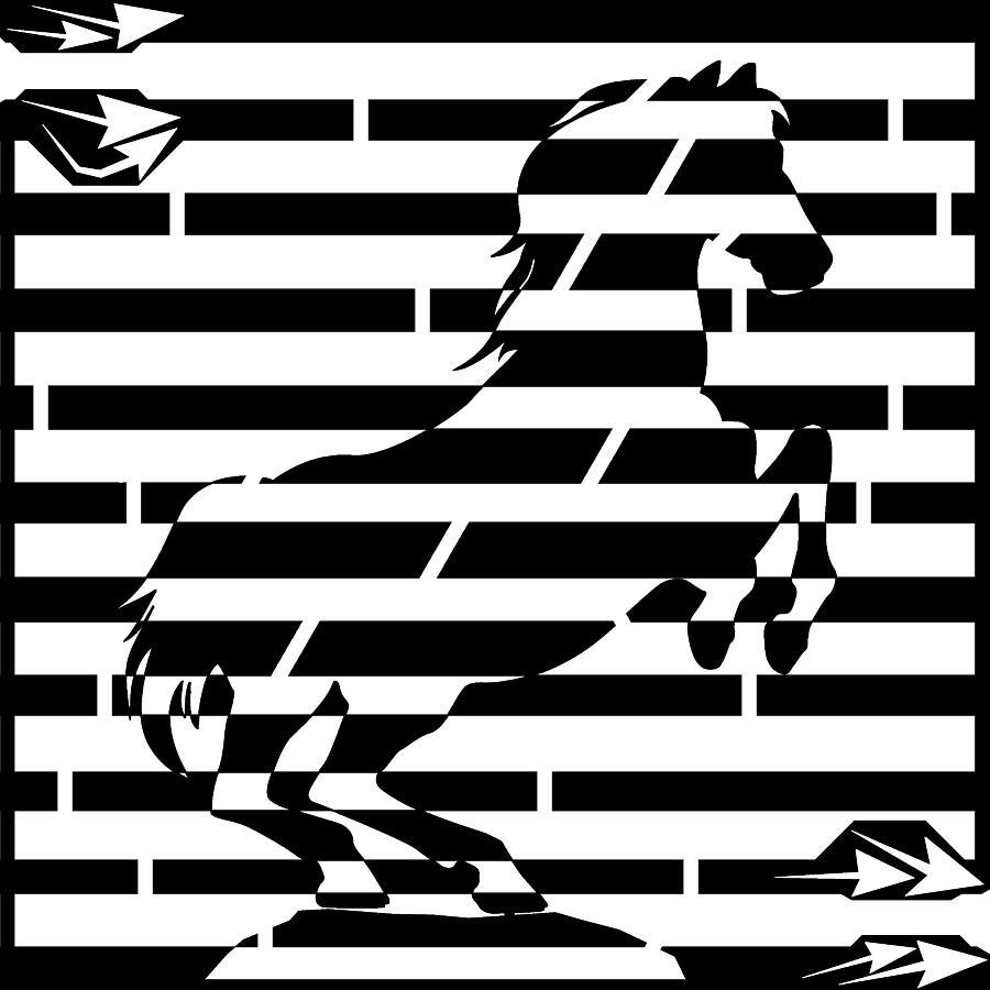 Watts Drawing - Maze Of 746 Watts 1 Horsepower Maze  by Yonatan Frimer Maze Artist