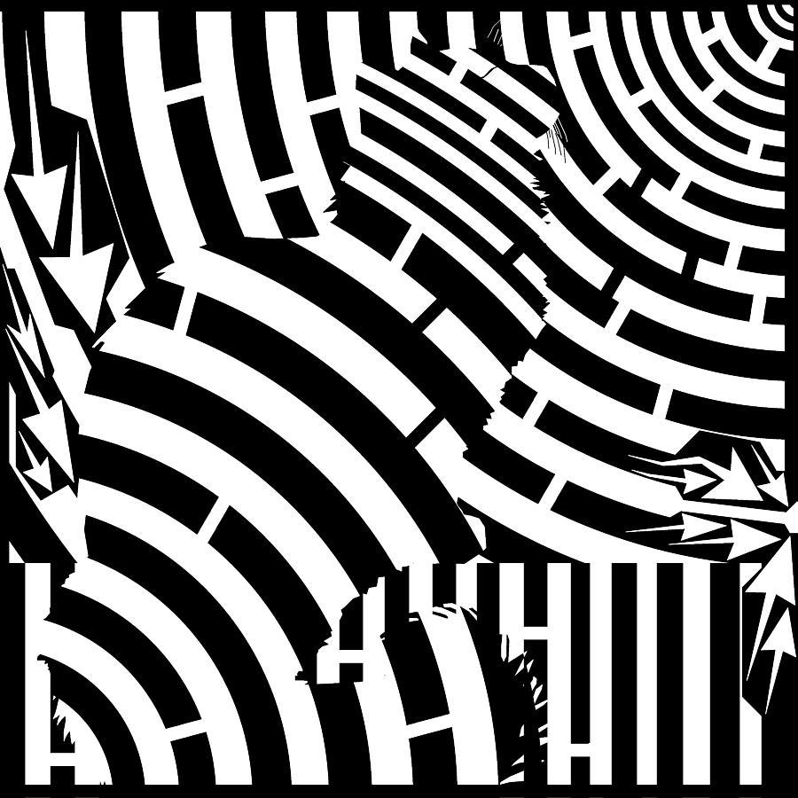 Mazes Digital Art - Maze Of Cat On Fence Op Art by Maze Op Art Artist