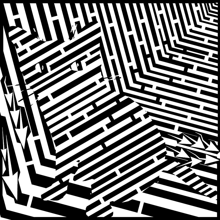 Maze Digital Art - Maze Of Snarly The Cat by Yonatan Frimer Maze Artist