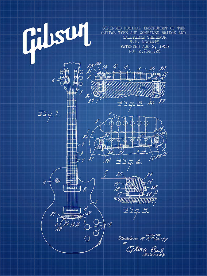 Gibson Digital Art - Mccarty Gibson Les Paul Guitar Patent Drawing From 1955 - Bluepr by Aged Pixel