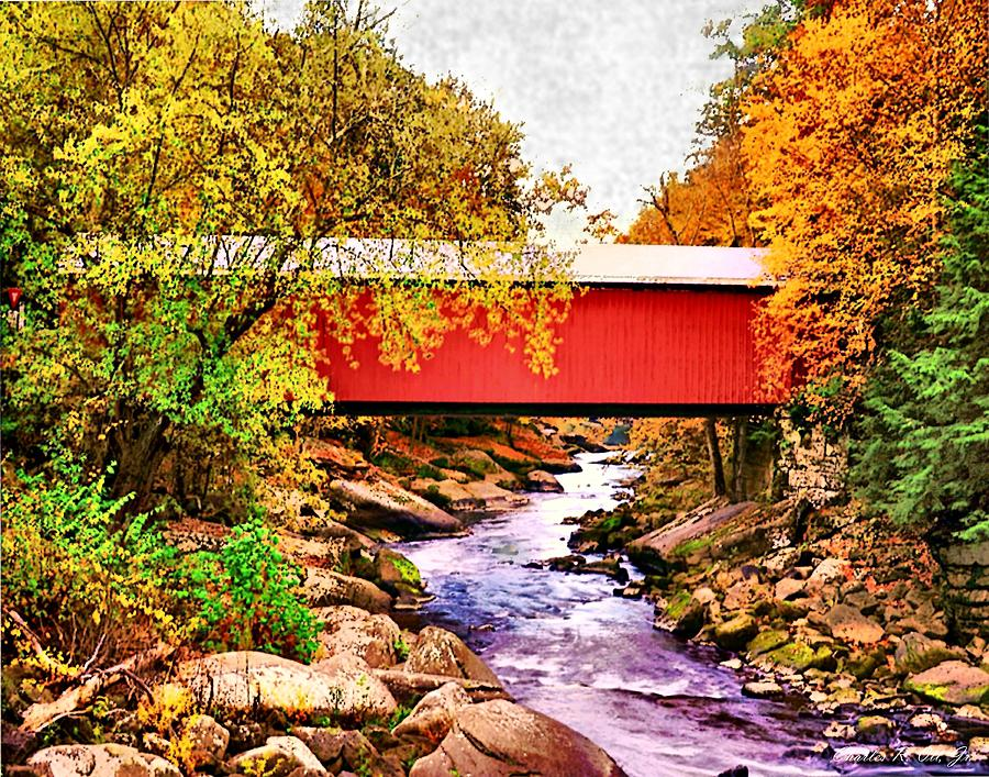 Covered Bridge Painting - McConnells Mill Covered Bridge by Charles Ott
