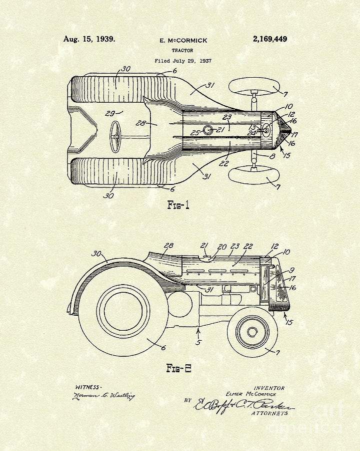 Mccormick Drawing - McCormick Tractor 1939 Patent Art by Prior Art Design