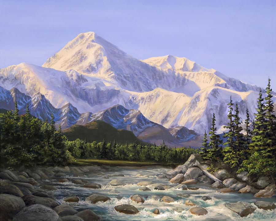 Alaska Landscape Painting - Majestic Denali Mountain Landscape - Alaska Painting - Mountains And River - Wilderness Decor by Karen Whitworth