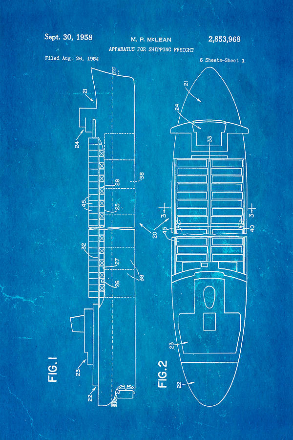 Engineer Photograph - Mclean Shipping Container Patent Art 1958 Blueprint by Ian Monk