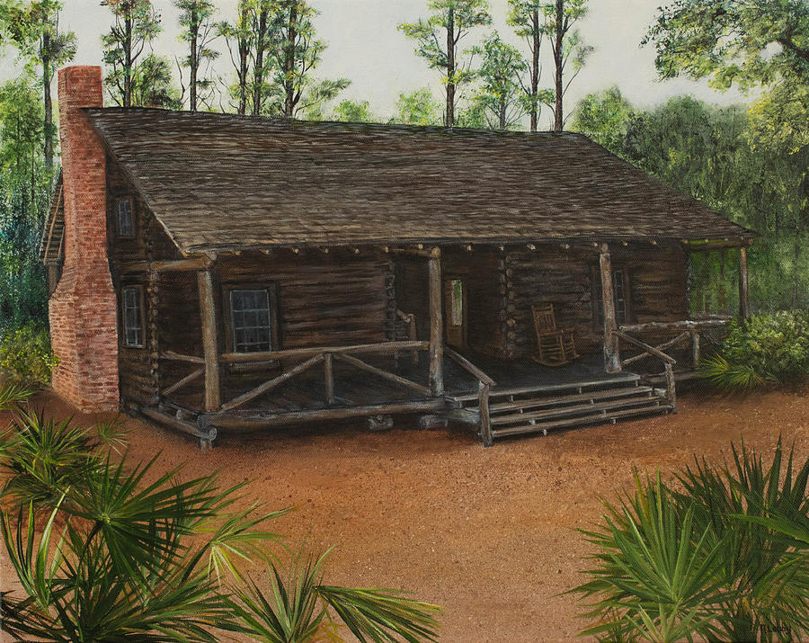 Mcmullen log cabin painting by nancy lauby for Log cabin painting