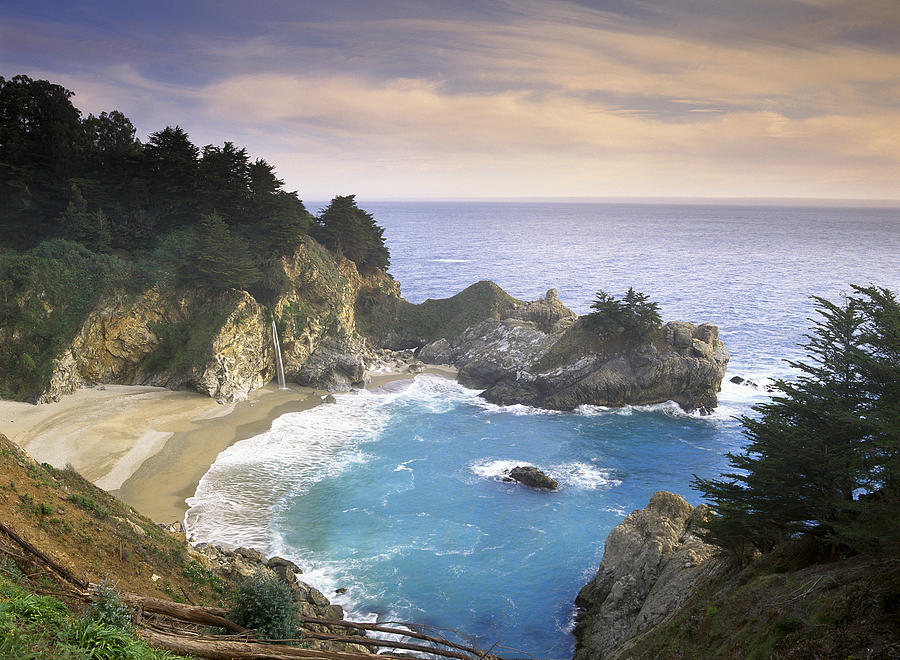 McWay Cove Falls in Big Sur Photograph by Tim Fitzharris