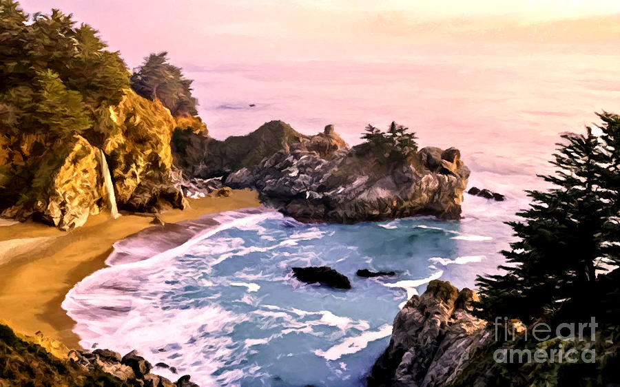 Beach Painting - Mcway Falls Pacific Coast by Bob and Nadine Johnston