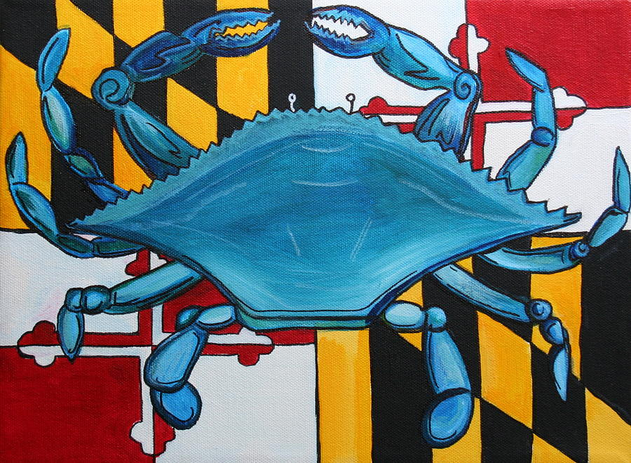 Maryland Painting - MD Blue Crab by Kate Fortin
