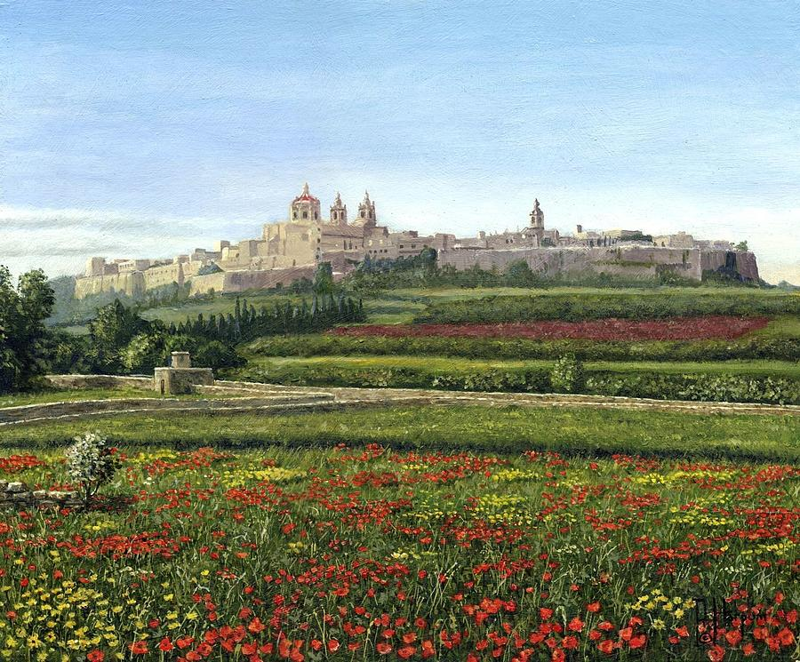 Landscape Painting - Mdina Poppies Malta by Richard Harpum