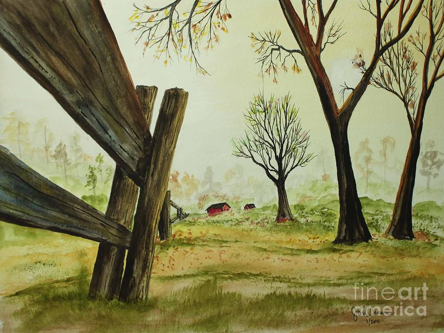 Watercolor Painting - Meadow Fence by Jack G  Brauer