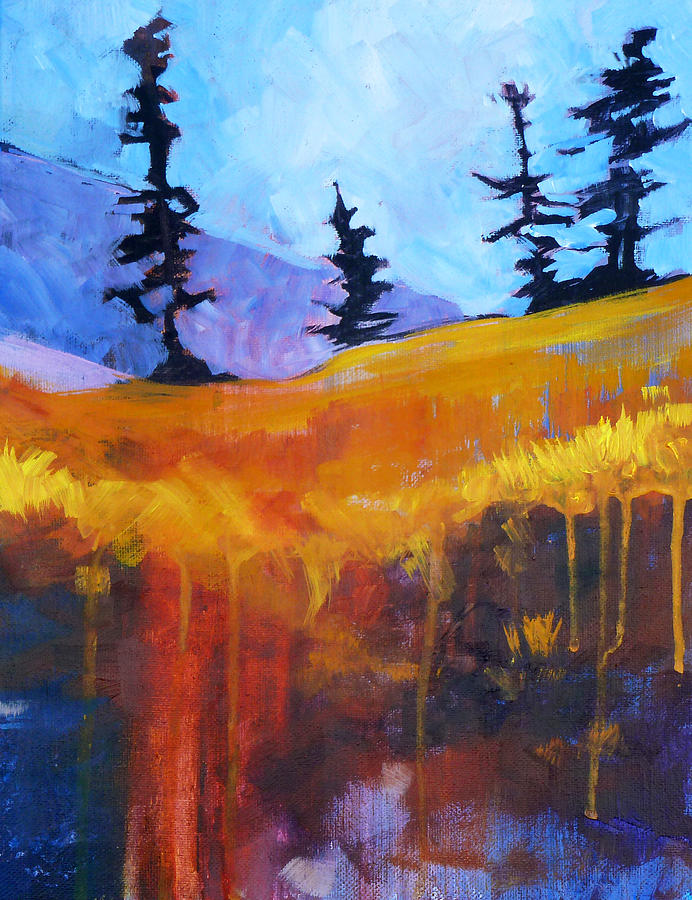 Abstract Painting - Meadow Mountain by Nancy Merkle
