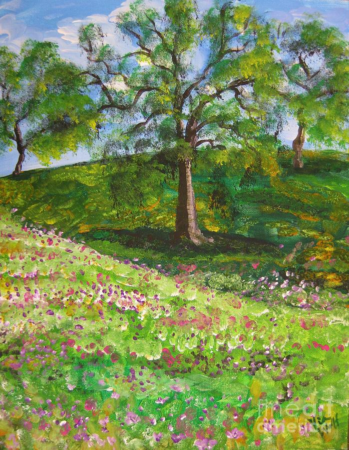 Landscape Painting - Meadowland    Painting by Judy Via-Wolff