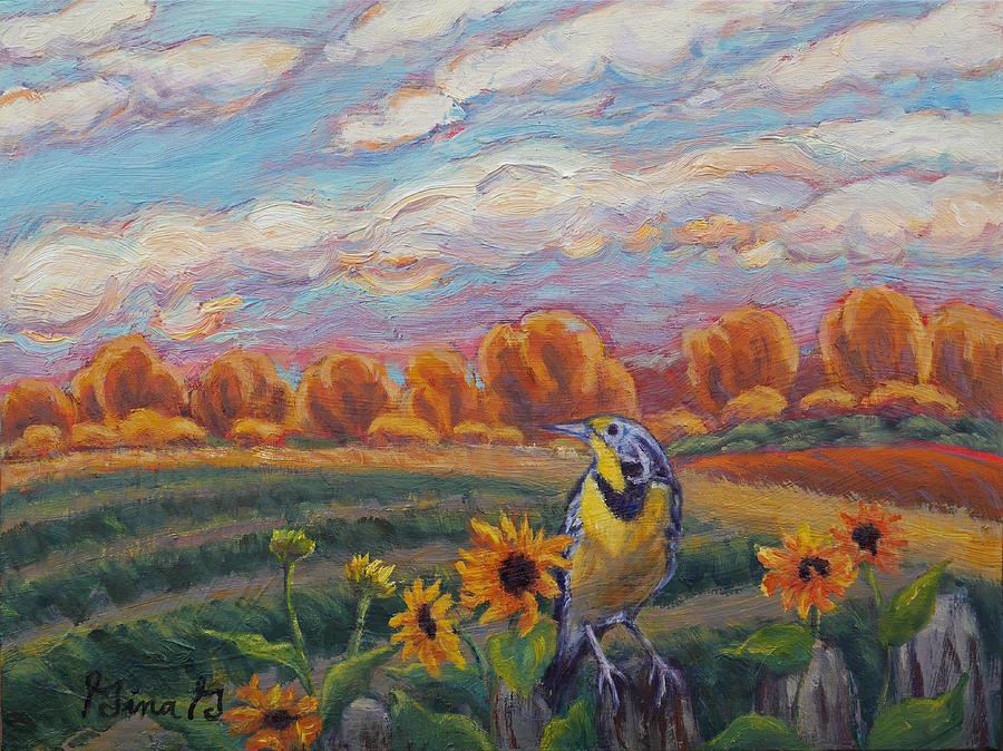 Contemporary Artist Painting - Meadowlark Morning by Gina Grundemann