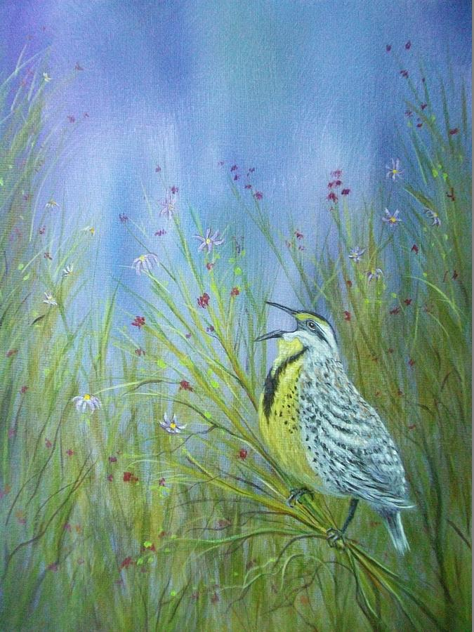 Xochi Painting - Meadowlark by Xochi Hughes Madera