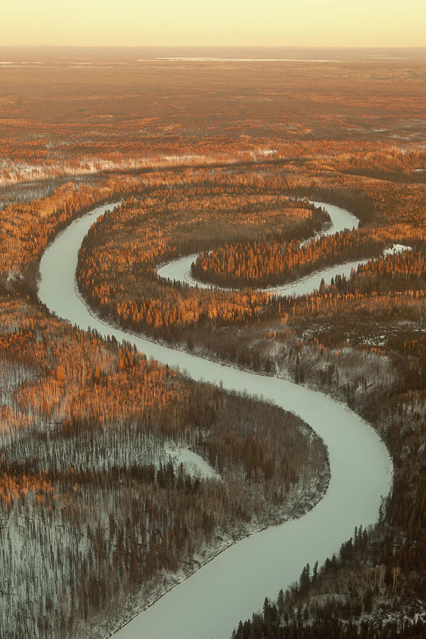 Meander Spiral River - Oxbow Chipewyan Photograph by Photographer Kris Krüg