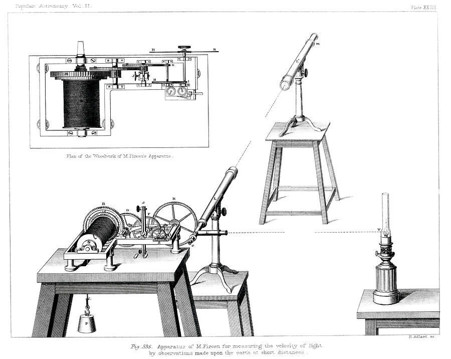Engraving Photograph - Measuring The Speed Of Light by Royal Astronomical Society/science Photo Library