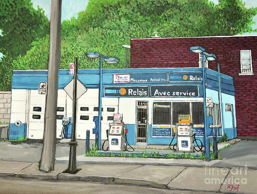 Gas Stations Painting - Mecanique Amical Inc. Pointe St. Charles by Reb Frost