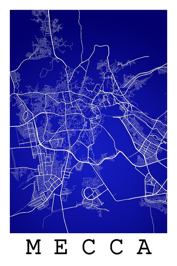 Mecca Street Map - Mecca Saudi Arabia Road Map Art On Color