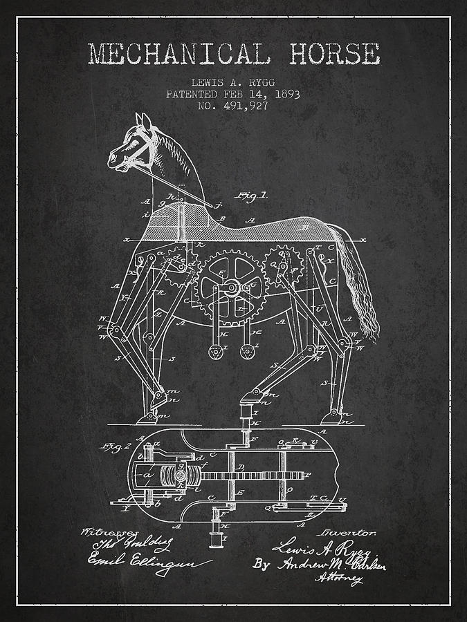 Horse Drawing - Mechanical Horse Patent Drawing From 1893 - Dark by Aged Pixel