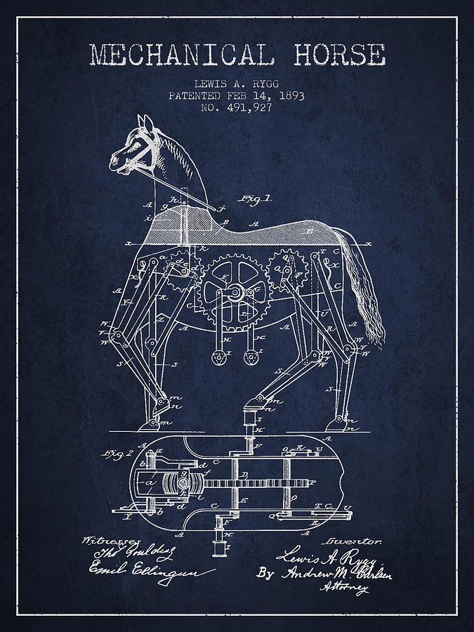 Horse Drawing - Mechanical Horse Patent Drawing From 1893 - Navy Blue by Aged Pixel