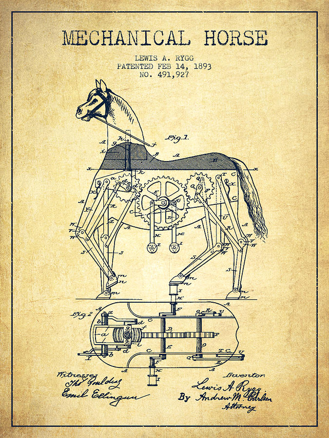 Horse Drawing - Mechanical Horse Patent Drawing From 1893 - Vintage by Aged Pixel