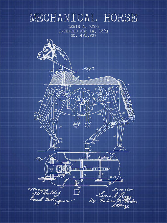Mechanical horse patent from 1893 blueprint digital art by aged pixel horse digital art mechanical horse patent from 1893 blueprint by aged pixel malvernweather Image collections