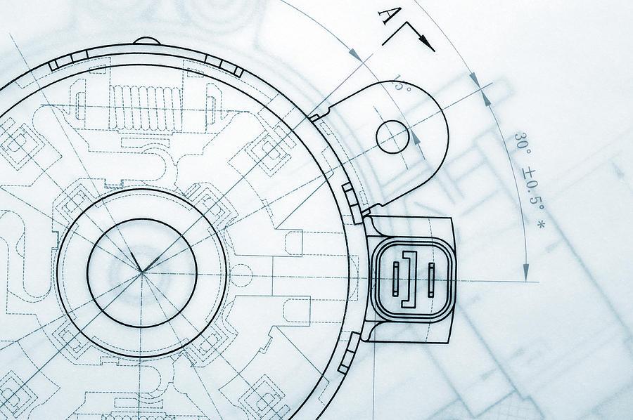 Mechanical Industry Blueprint Photograph by Teekid