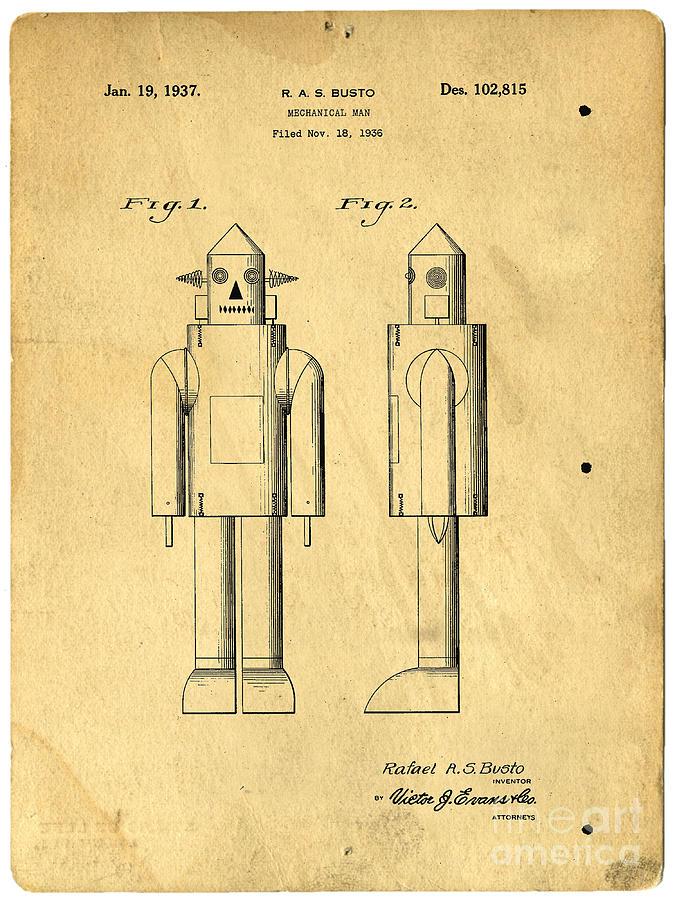 Robot Photograph - Mechanical Man Patent by Edward Fielding