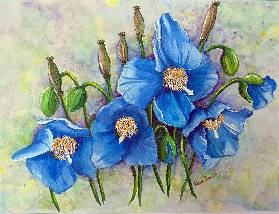MECONOPSIS    Himalayan Blue Poppy Painting by Karin  Dawn Kelshall- Best
