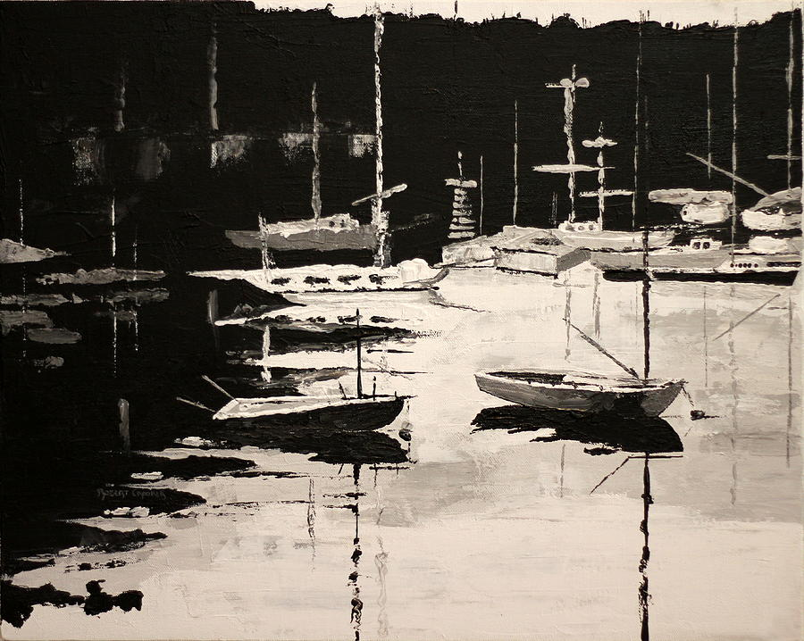 Boats Painting - Medford Boat Club by Robert Crooker