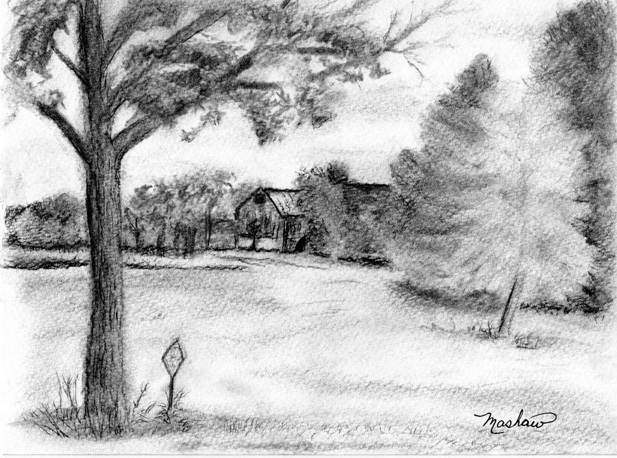Farm Drawing - Medford Farm by Sheila Mashaw
