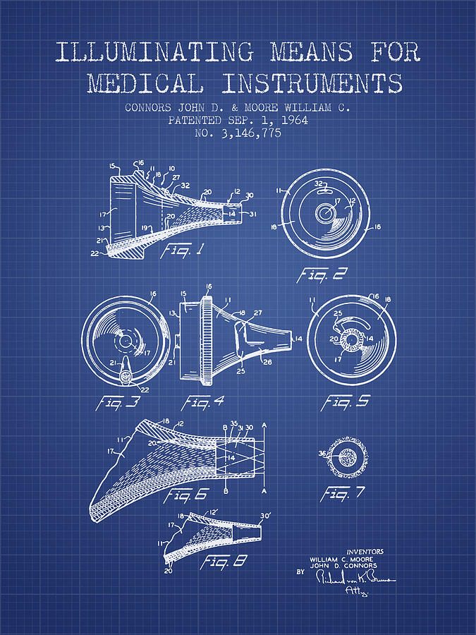 Medical instrument patent from 1964 blueprint digital art by medical device digital art medical instrument patent from 1964 blueprint by aged pixel malvernweather