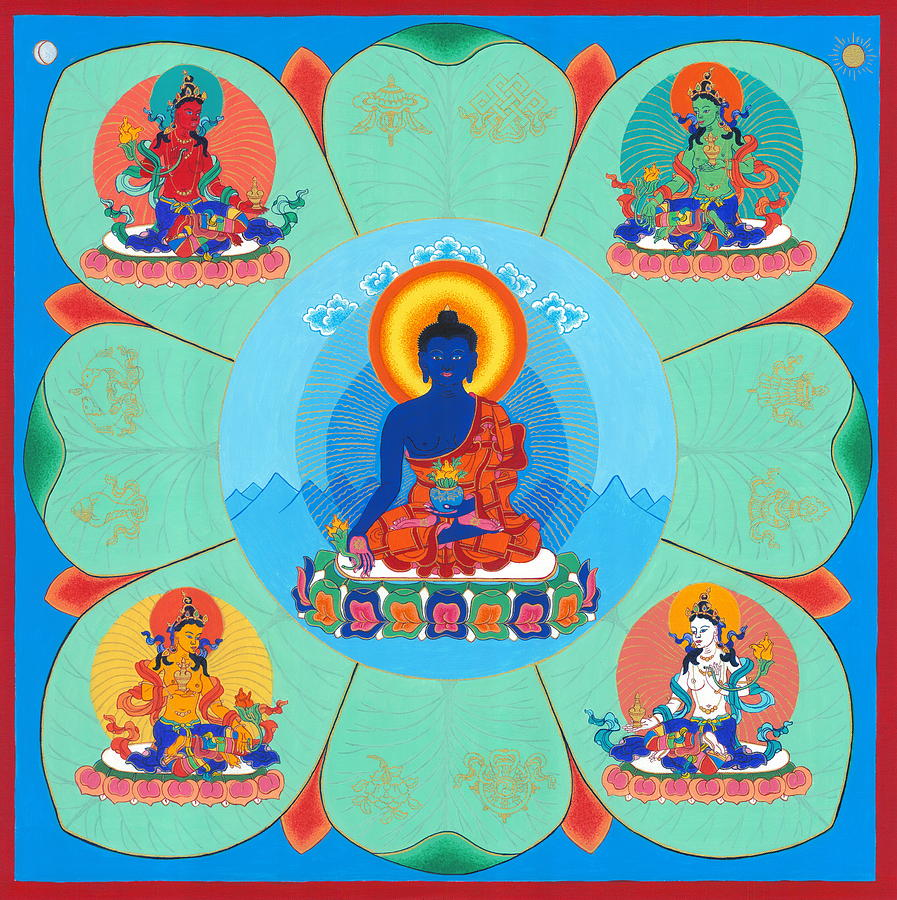 Thangka Painting - Medicine Buddha by Ies Walker