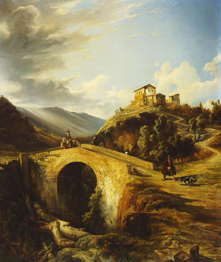 Medieval Landscape Painting By Gonsalvo Carelli