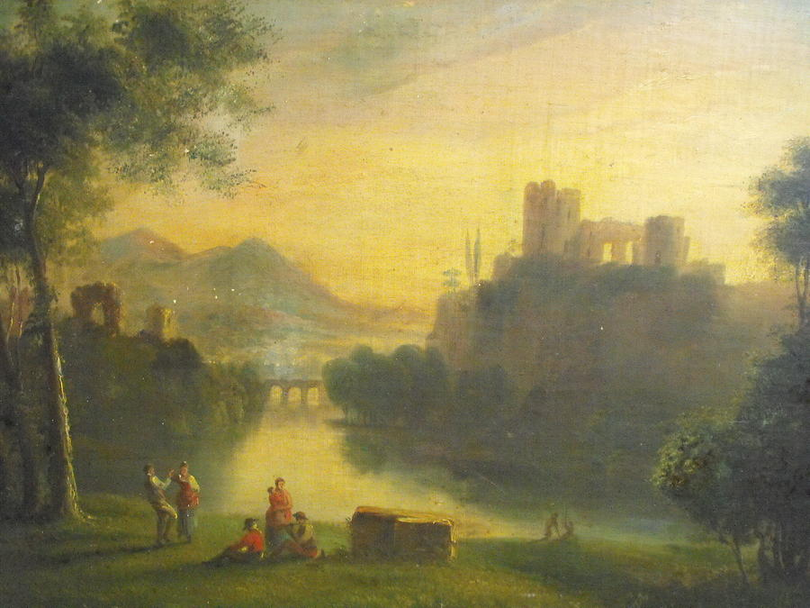 Castle Painting - Medieval Landscape With People by Unknown