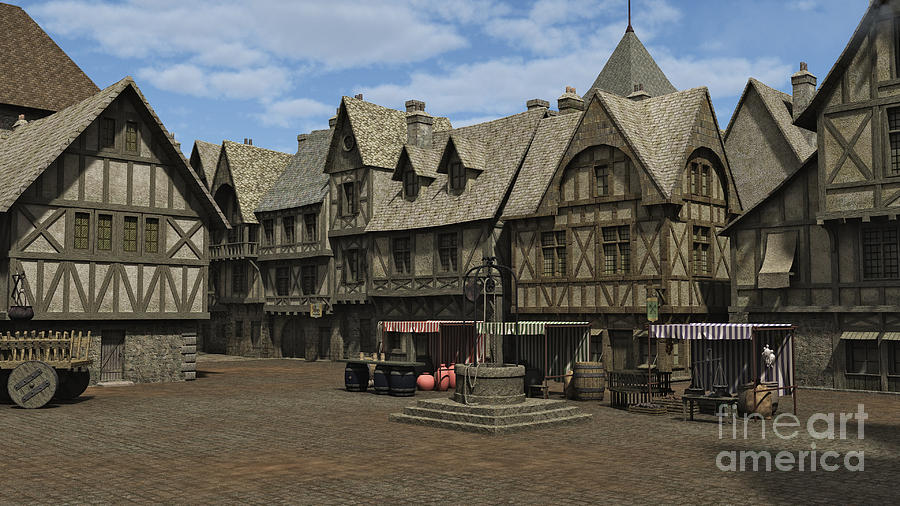 Medieval Town Square Fairy Fantasies on Small English Tudor Cottage