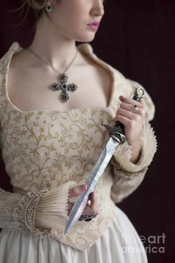 Medieval Tudor Woman Holding A Dagger Photograph By Lee Avison