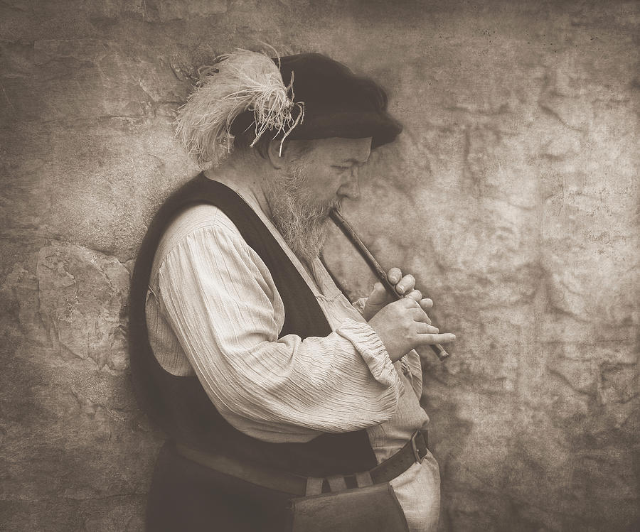 People Photograph - Medieval Flute Player by Pat Abbott