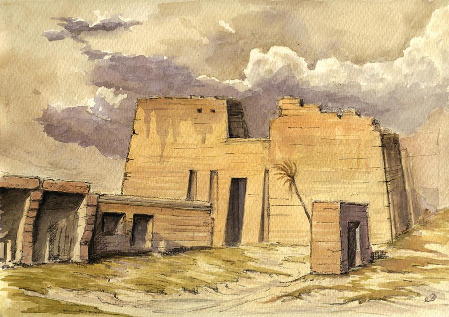 Volubilis Painting - Medinet temple Egypt by Juan  Bosco