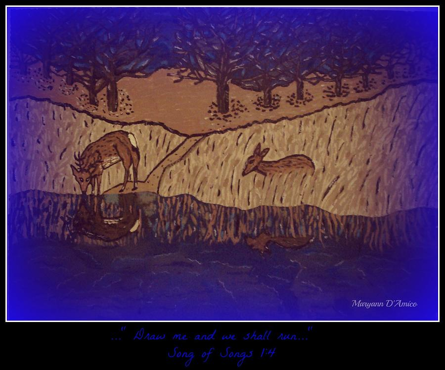 Deer By A Running Stream Painting - Meditation Number 6 Song Of Songs by Maryann  DAmico