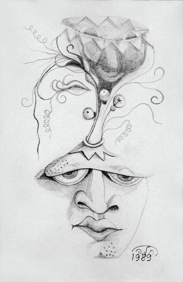 Meditation Drawing - Meditation On The Crown Chakra Or Where Is Your Mind Going Surrealistic Fantasy Of Face With Energy  by Rachel Hershkovitz