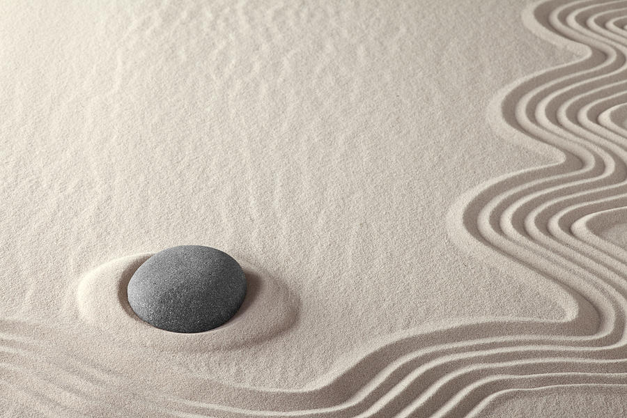 Meditation Stone Photograph   Meditation Stone Zen Rock Garden By Dirk  Ercken