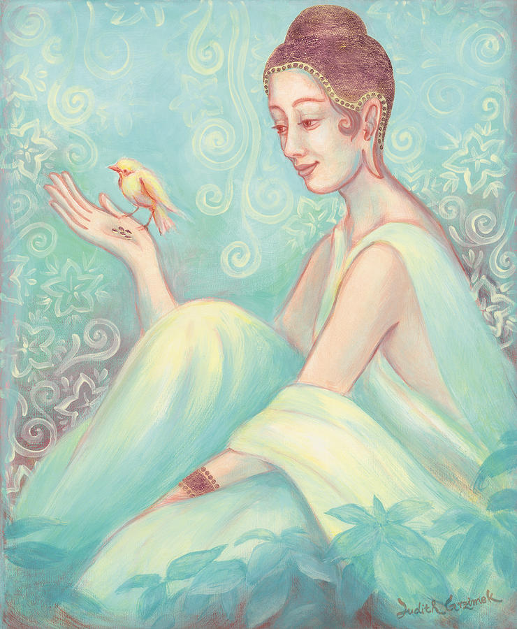 Meditation Painting - Meditation With Bird by Judith Grzimek