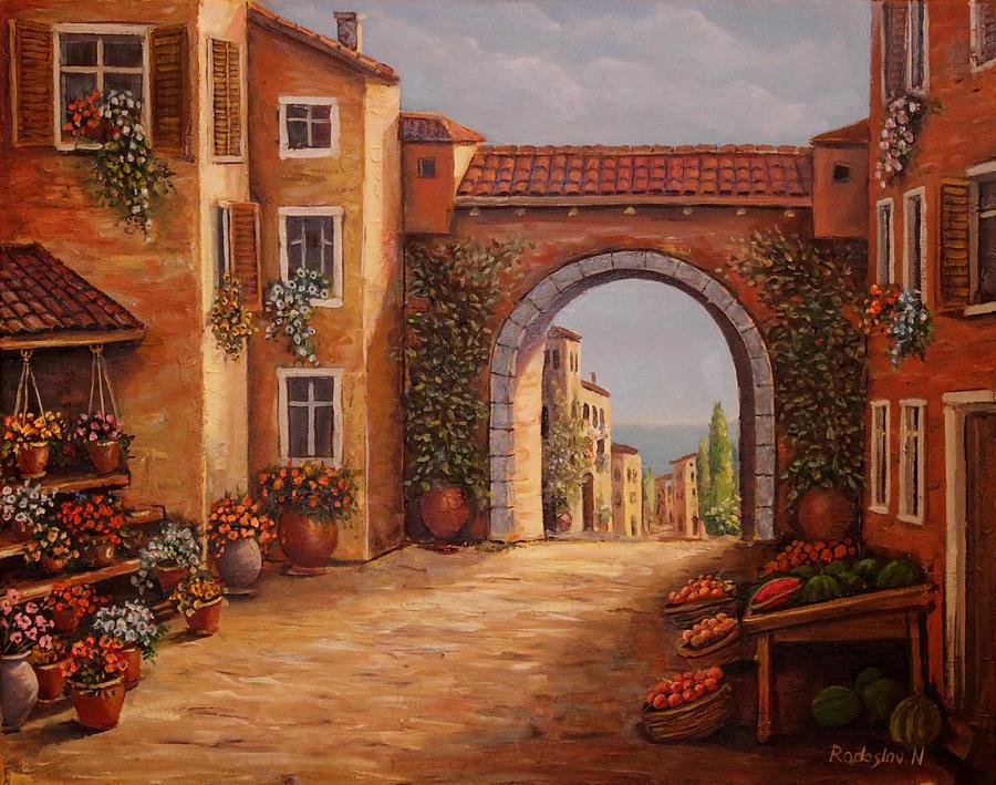Ancient Painting - Mediterranean Bazaar by Radoslav Nedelchev