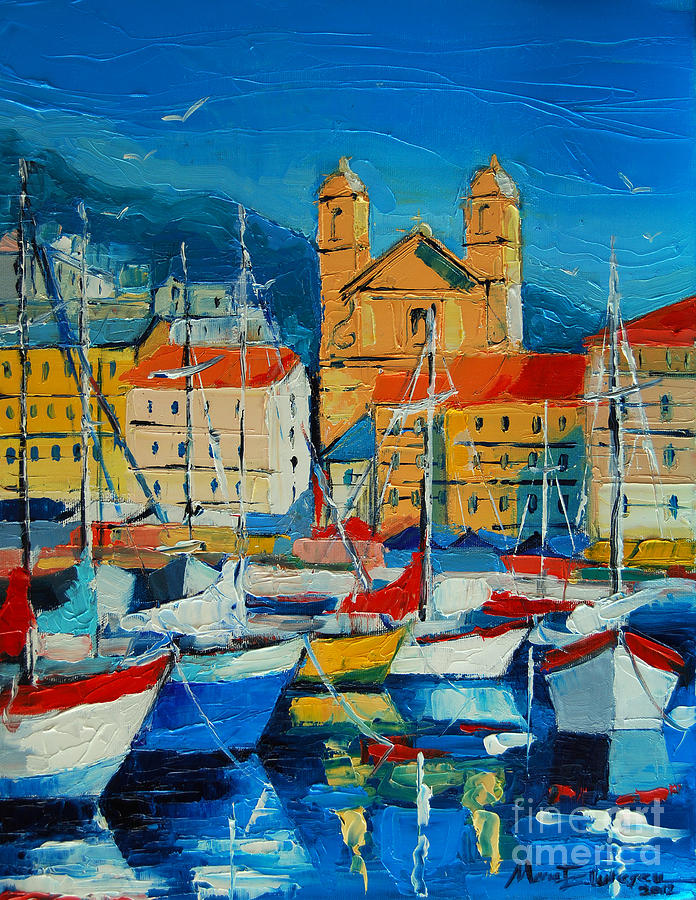 Mediterranean Harbor Painting By Mona Edulesco