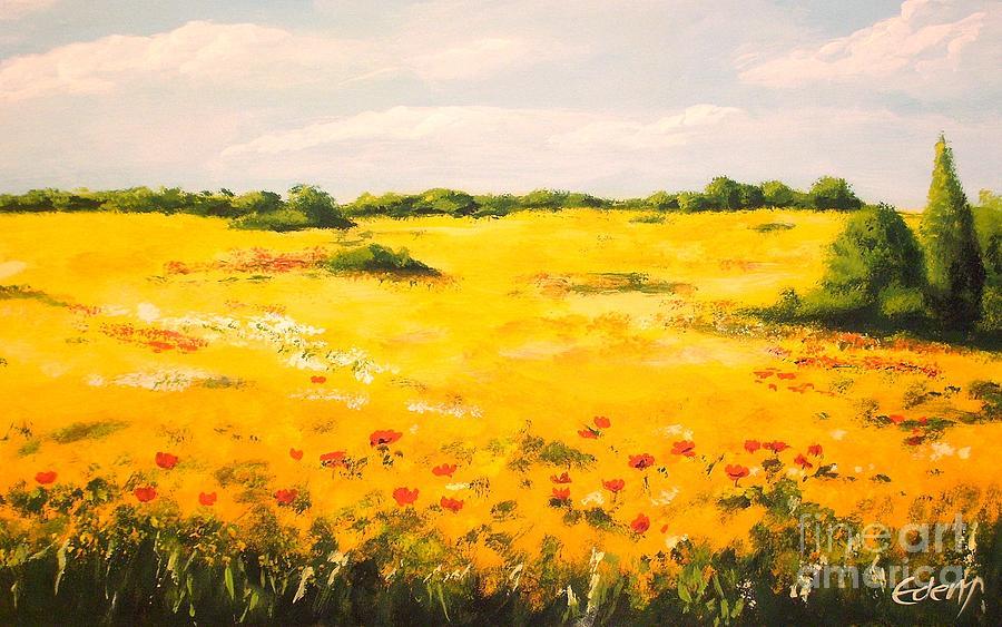 Landscape Painting - Mediterranean Landscape  by Edit Voros