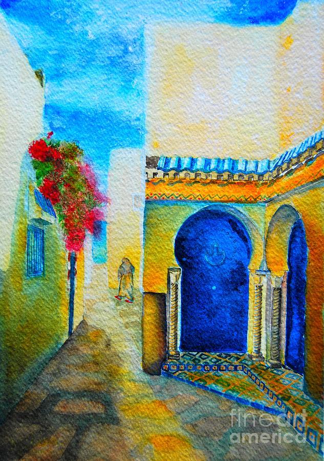Tunisia Painting - Mediterranean Medina by Ana Maria Edulescu