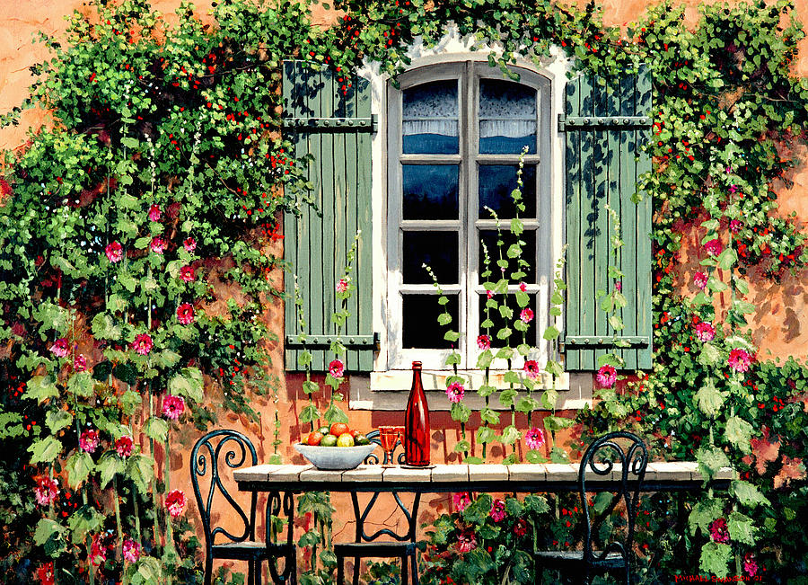 French Window Painting - Mediterranean Memories - Oil by Michael Swanson