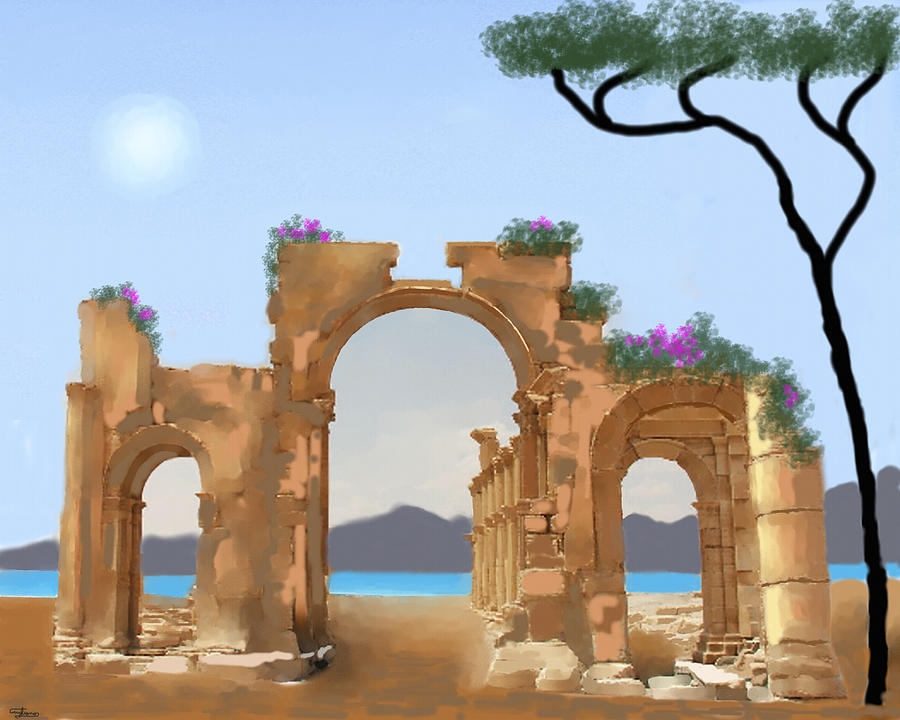 Italy Painting - Mediterranean Ruins by Larry Cirigliano